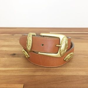 Vintage leather western 1990 brown gold Ann Taylor